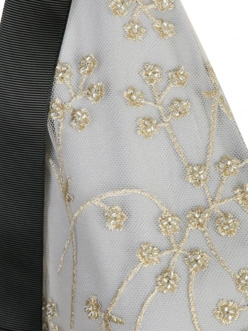Платье-мини с узором и декоративными бантами - Деталь1