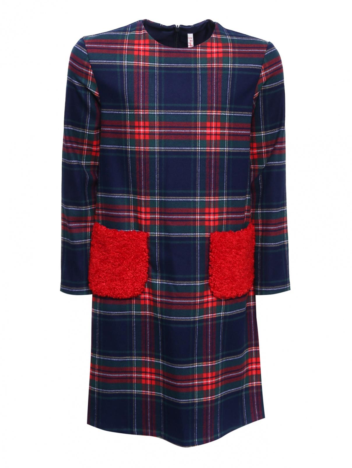 Платье в клетку с меховыми карманами Il Gufo  –  Общий вид