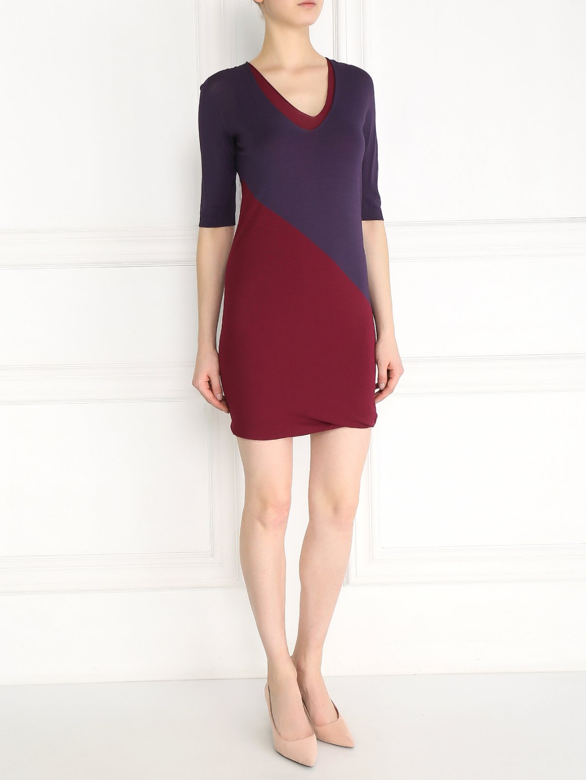 Платье прямого кроя с контрастными вставками Max Mara  –  Модель Общий вид