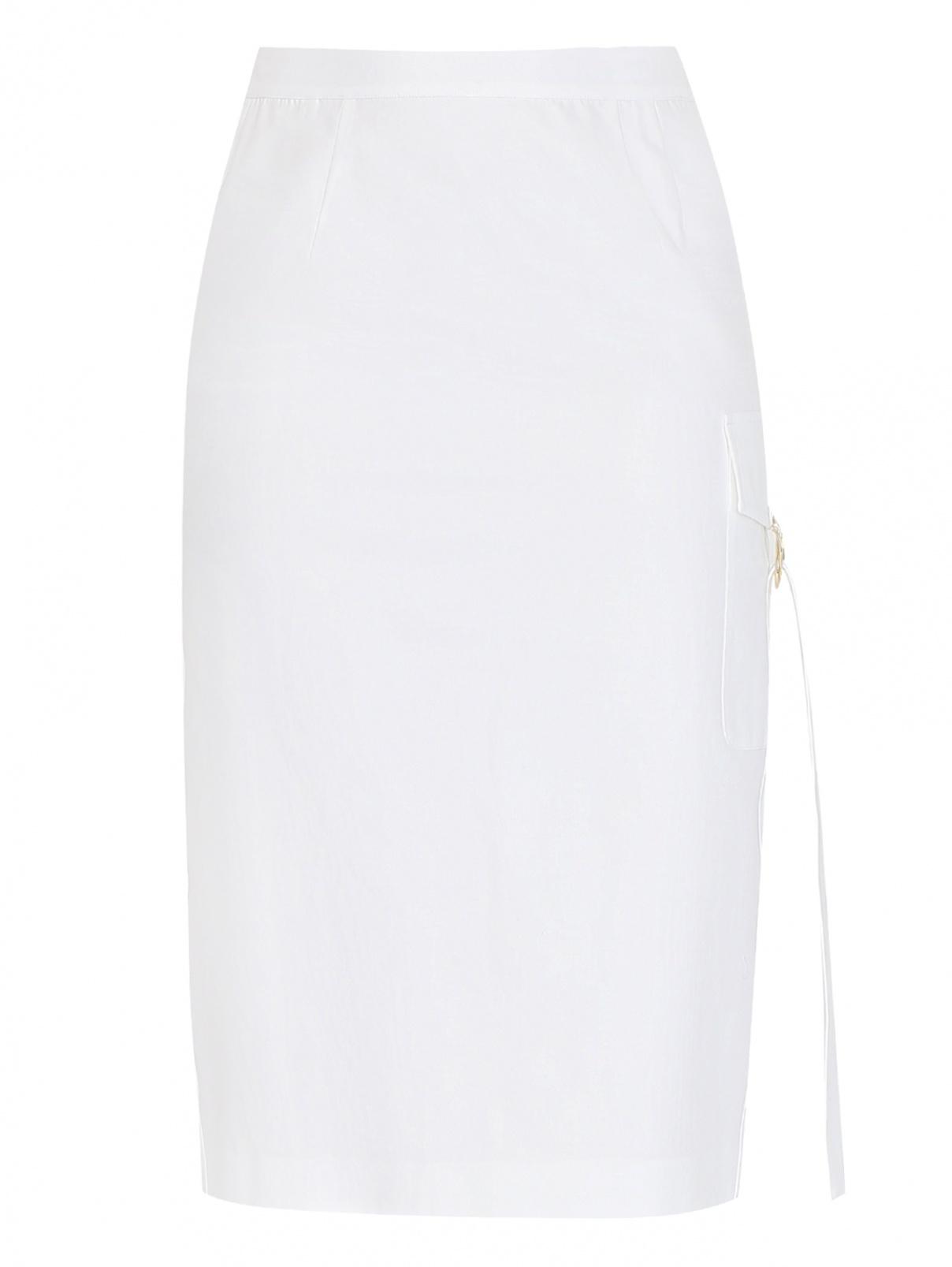 Юбка из хлопка прямого кроя с карманом Marina Rinaldi  –  Общий вид