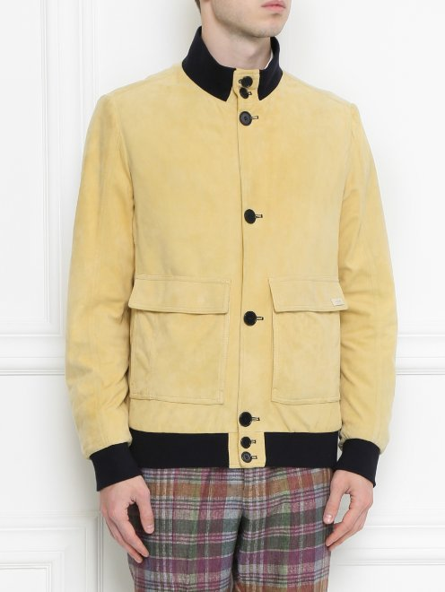 Куртка кожаная на пуговицах  - Модель Верх-Низ