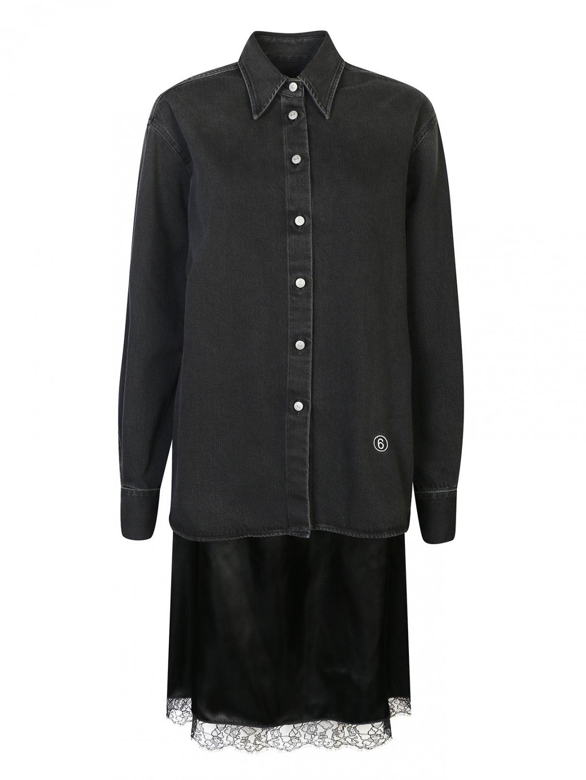 Платье из денима с атласной юбкой MM6  –  Общий вид