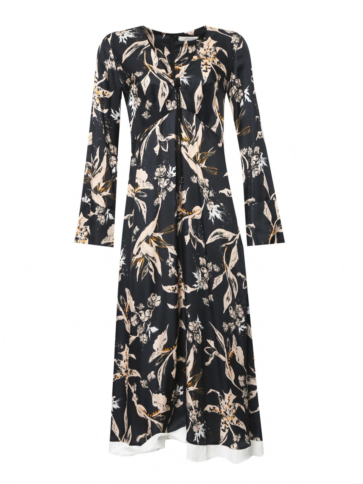 Платье-миди из смешанного шелка с узором Dorothee Schumacher  –  Общий вид