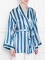 Шелковый халат в полоску на поясе Frette  –  МодельВерхНиз