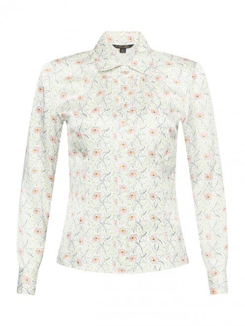 Шелковая блуза с цветочным узором - Общий вид