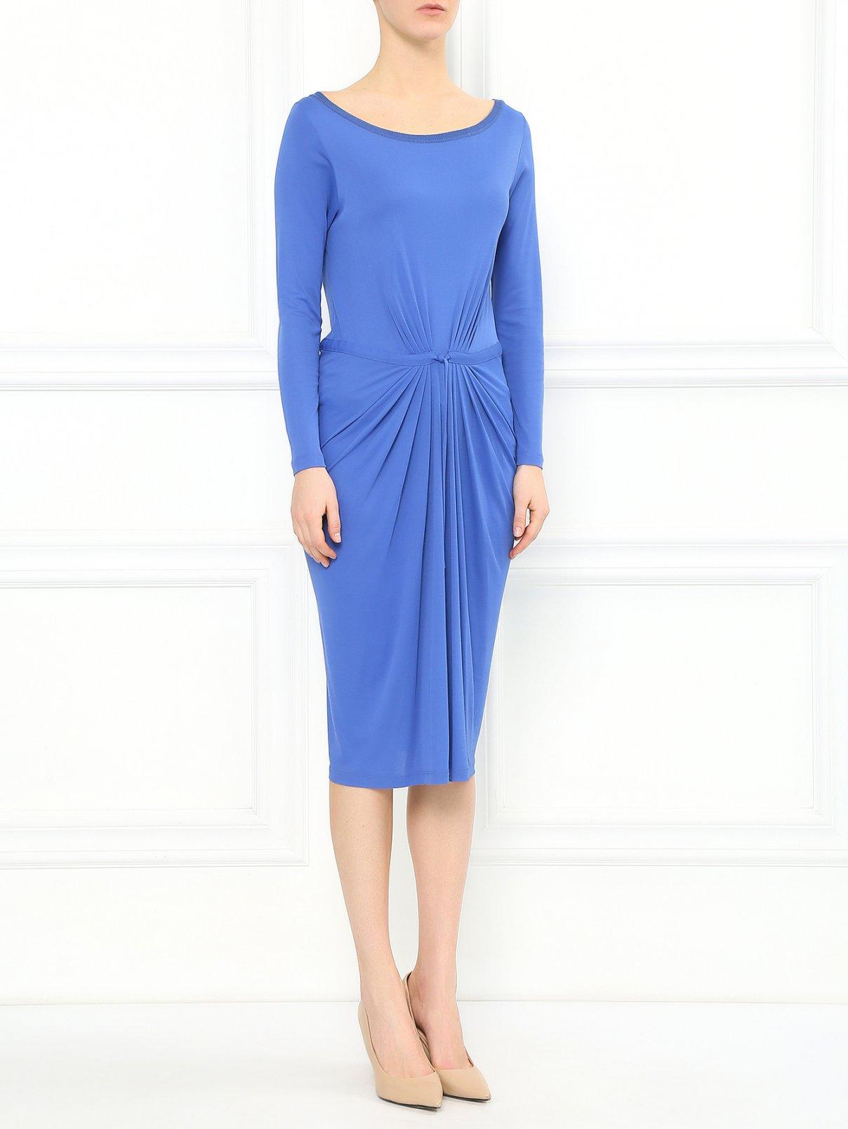 Платье-миди из смешанного шелка с драпировкой и круглым вырезом Alberta Ferretti  –  Модель Общий вид