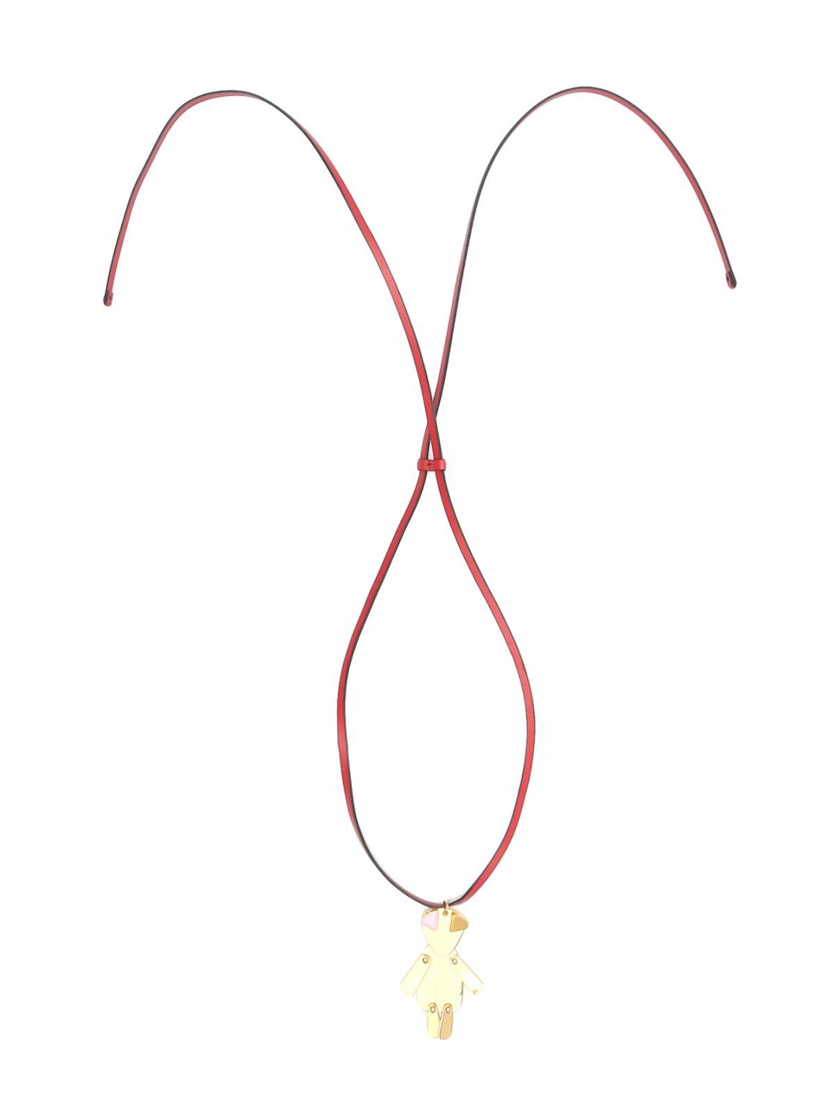 Колье из металла на кожаном шнурке Marni  –  Общий вид