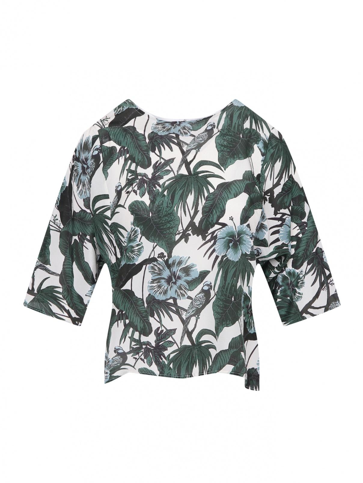 Блуза из шелка с растительным узором Weekend Max Mara  –  Общий вид