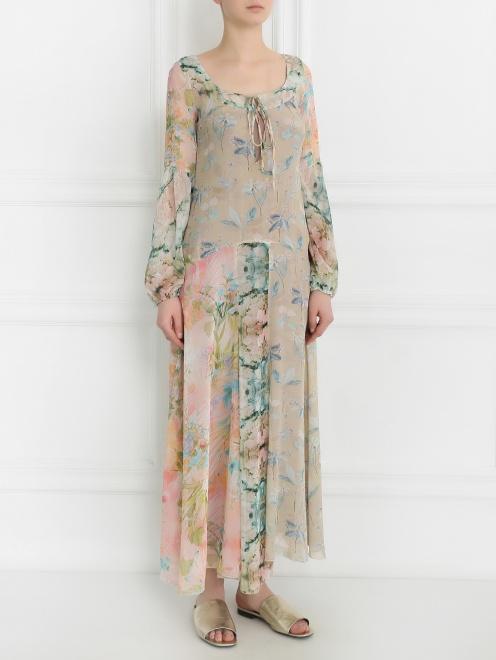 Платье-макси из шелка с цветочным узором - Модель Верх-Низ