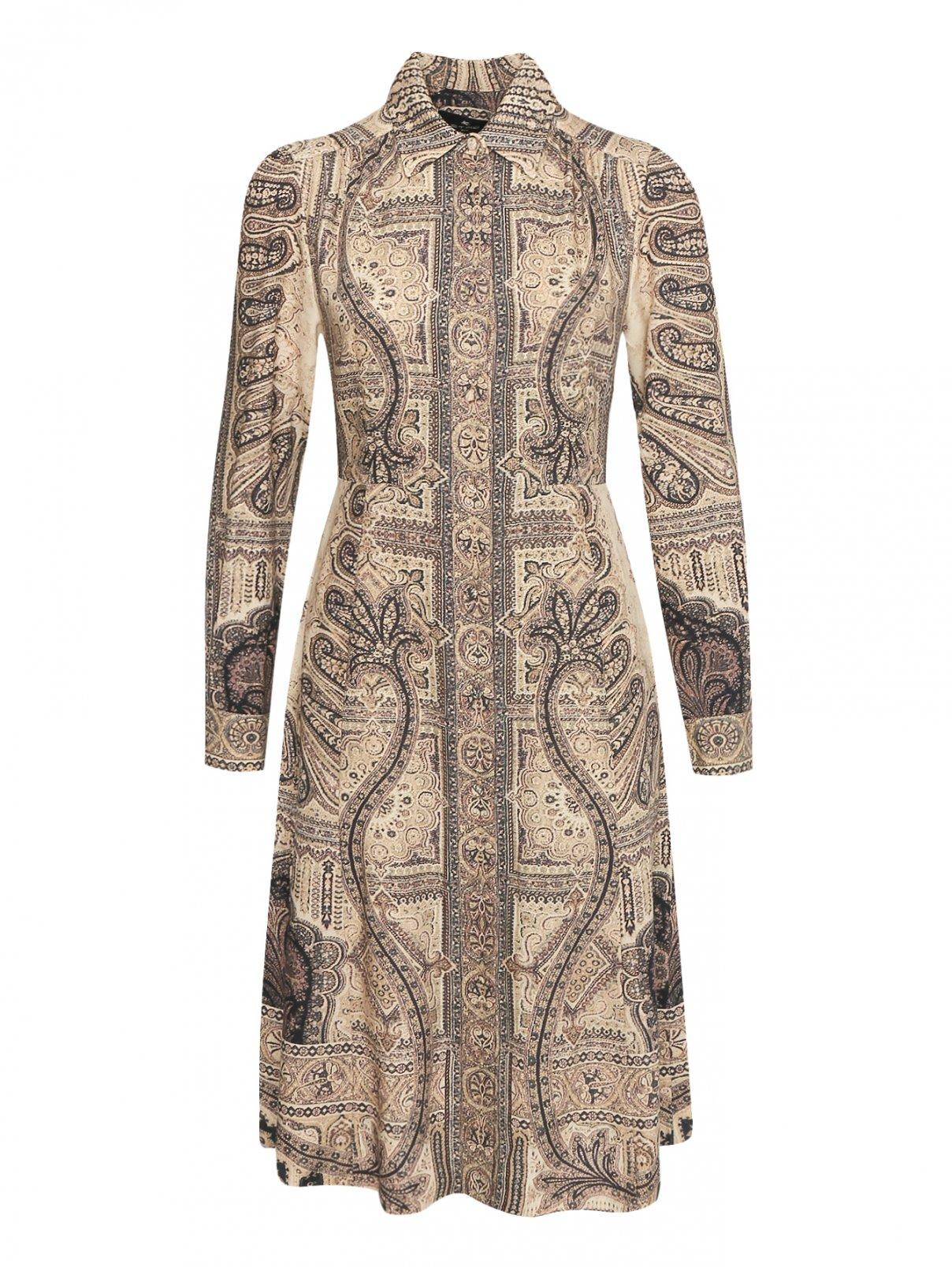 Платье-миди из шерсти и шелка с узором Etro  –  Общий вид