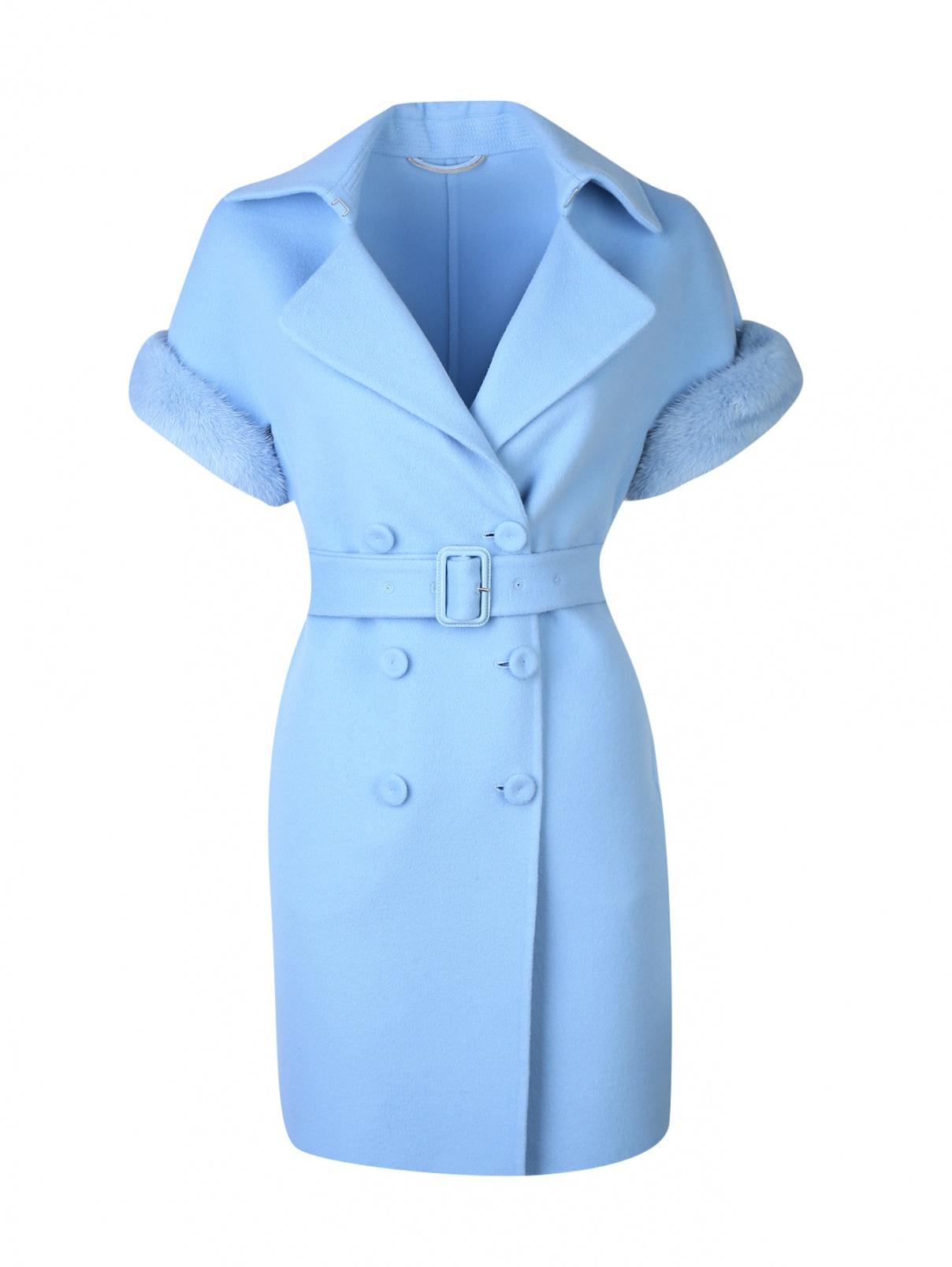 Пальто из шерсти с отделкой из меха норки Ermanno Scervino  –  Общий вид