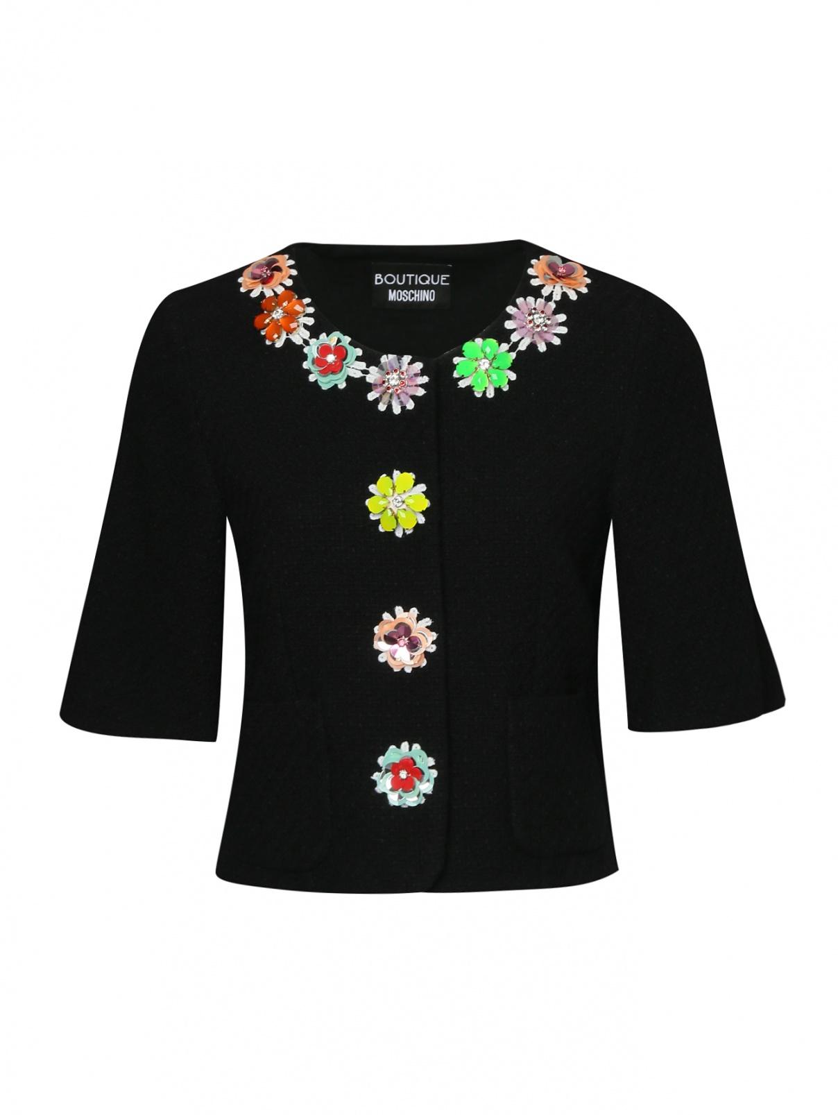 Жакет хлопковый с цветочным декором Moschino Boutique  –  Общий вид