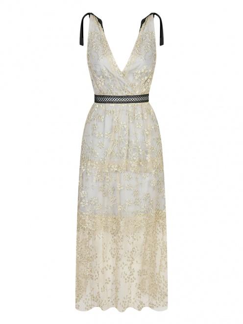 Платье-макси с полупрозрачной отделкой и декоративными бантами - Общий вид