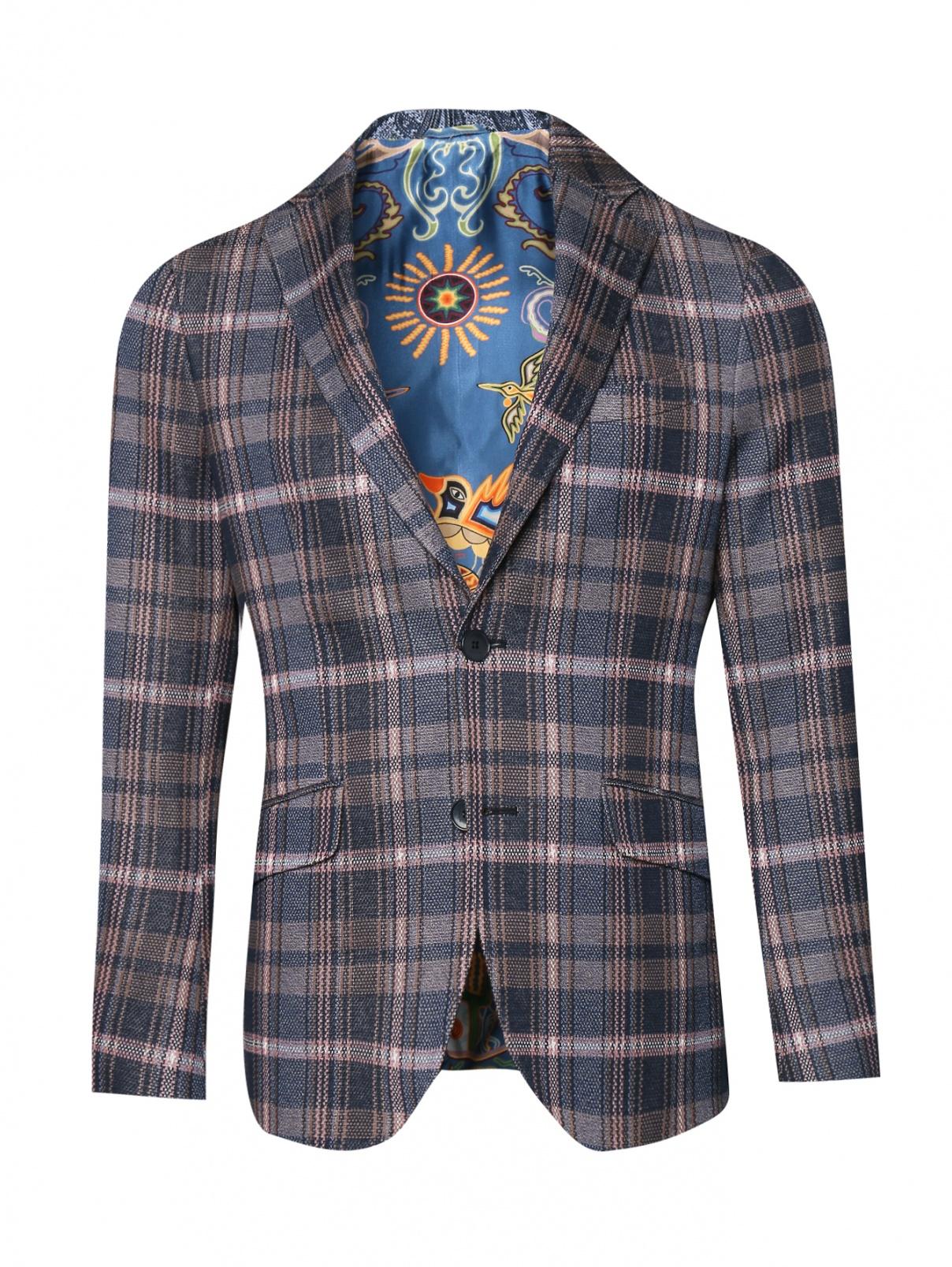 Пиджак из хлопка с узором клетка Etro  –  Общий вид