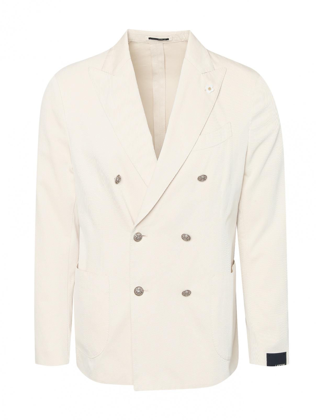 Двубортный пиджак из хлопка с карманами LARDINI  –  Общий вид