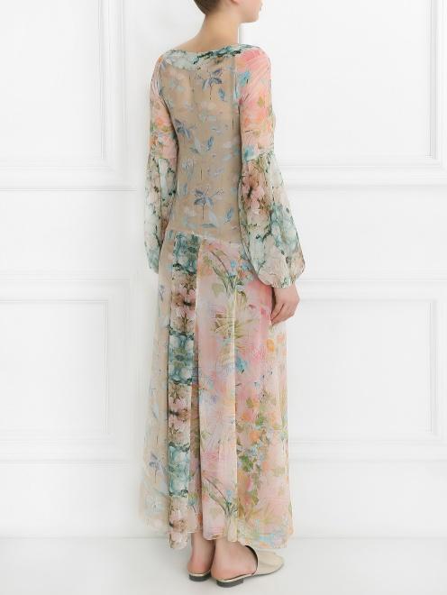Платье-макси из шелка с цветочным узором - Модель Верх-Низ1