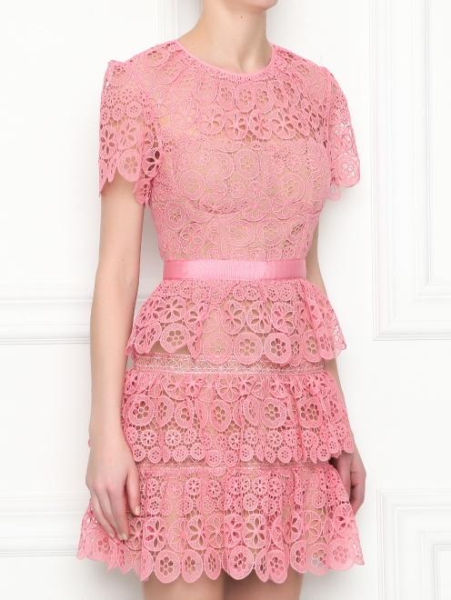 Платье-мини из кружева с короткими рукавами - МодельВерхНиз