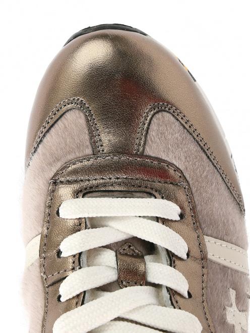 Высокие кроссовки из бархата с кожаными вставками - Обтравка3