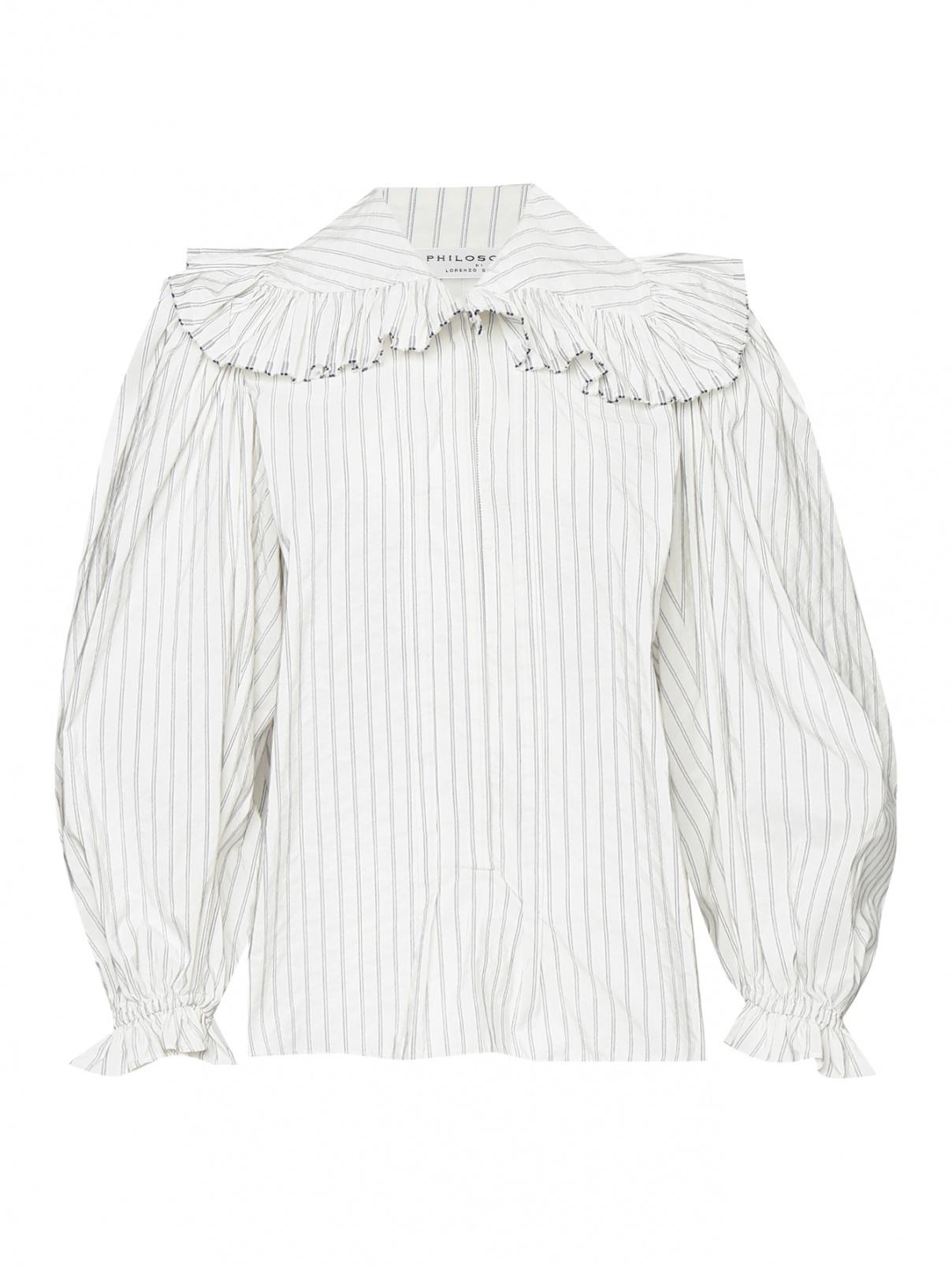 Блуза из смешанного хлопка с объемными рукавами в полоску Philosophy Di Lorenzo Serafini  –  Общий вид