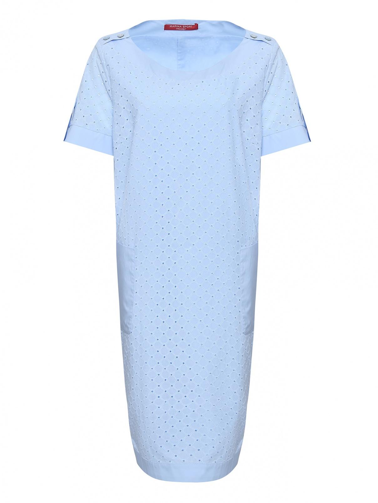 Платье из хлопка, с пуговицами и накладными карманами Marina Rinaldi  –  Общий вид
