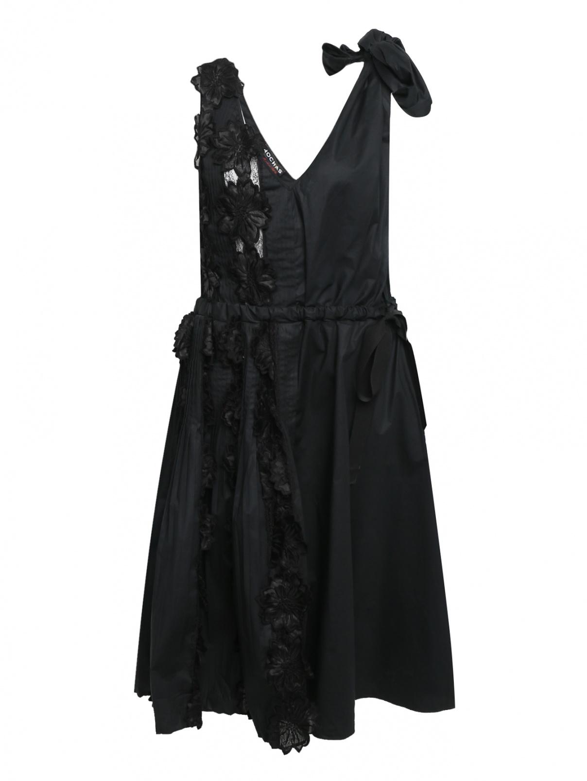 Платье-миди из хлопка с отделкой из кружева Rochas  –  Общий вид
