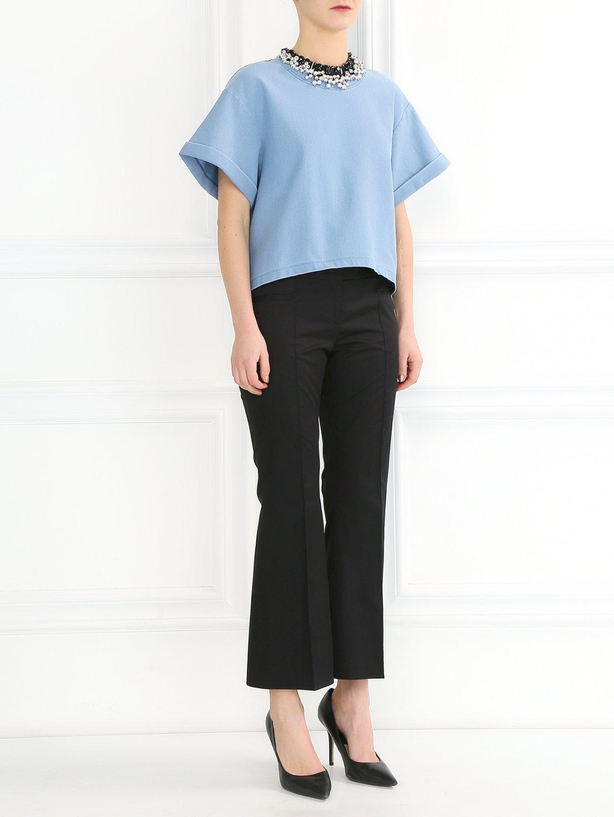 Укороченные брюки из хлопка с боковыми карманами Barbara Bui  –  Модель Общий вид