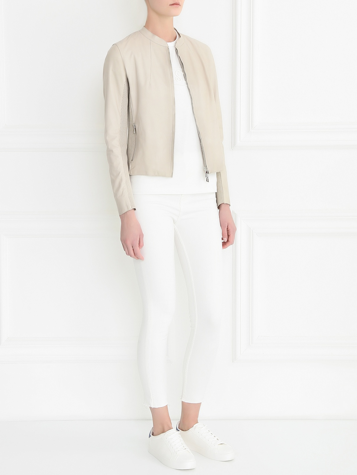 Куртка из кожи с трикотажными вставками Bosco Fresh  –  Модель Общий вид