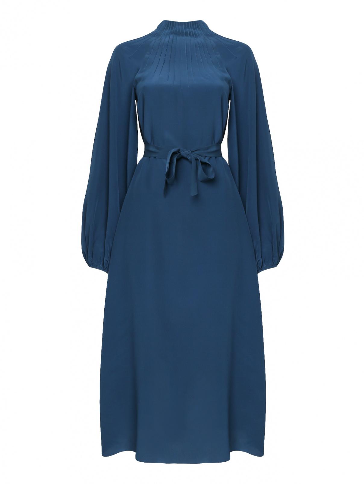 Платье-миди из шелка с поясом Rochas  –  Общий вид