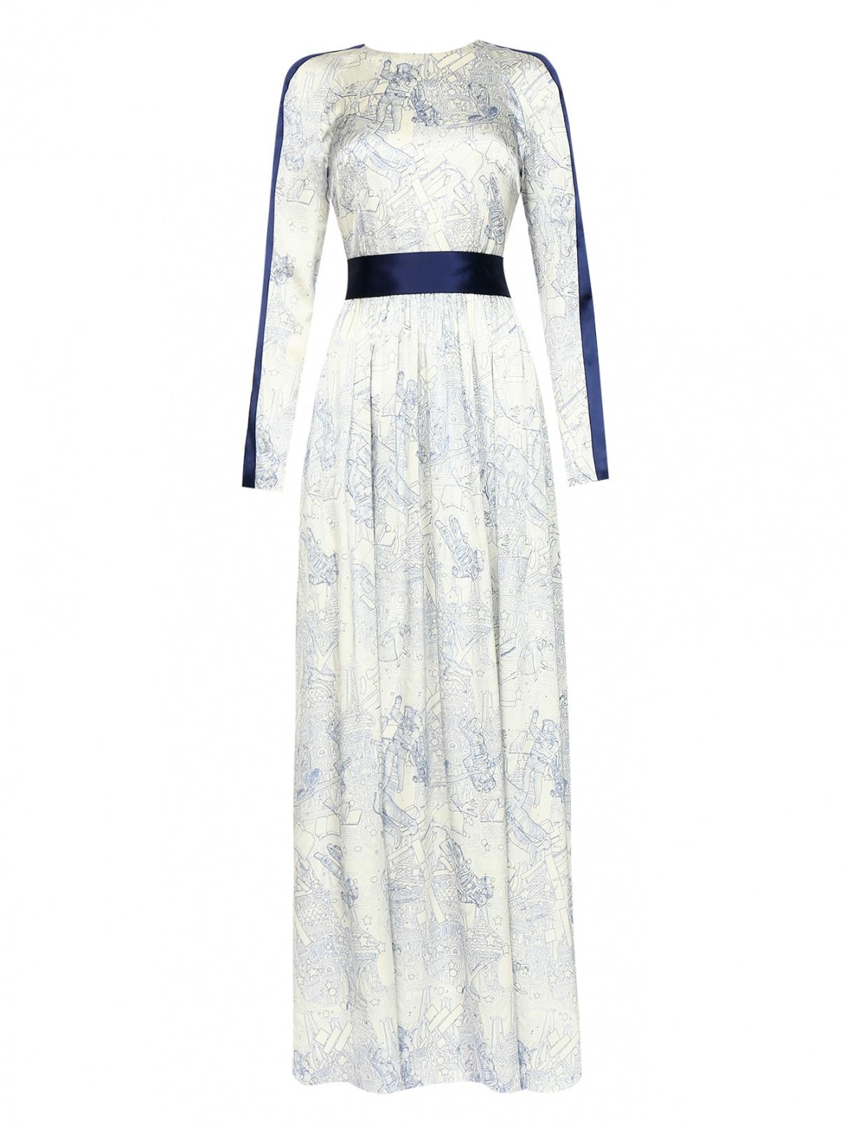 Платье-макси из шелка с узором A la Russe  –  Общий вид