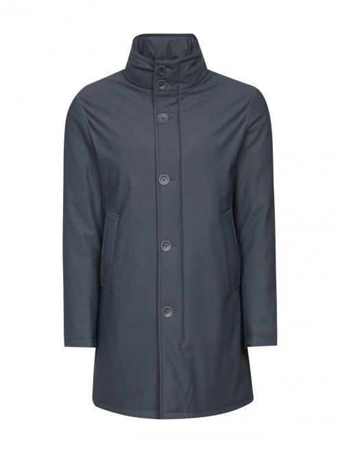 Плащ пуховый на молнии с боковыми карманами - Общий вид
