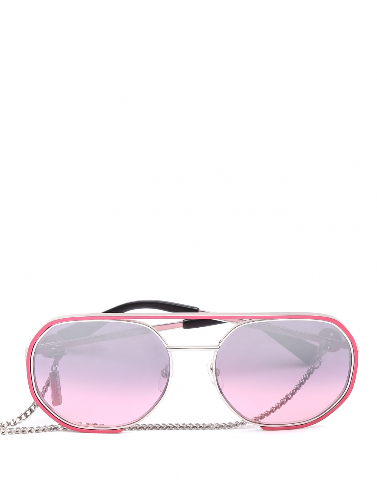 Очки солнцезащитные в металлической оправе с цепочкой Moschino  –  Общий вид