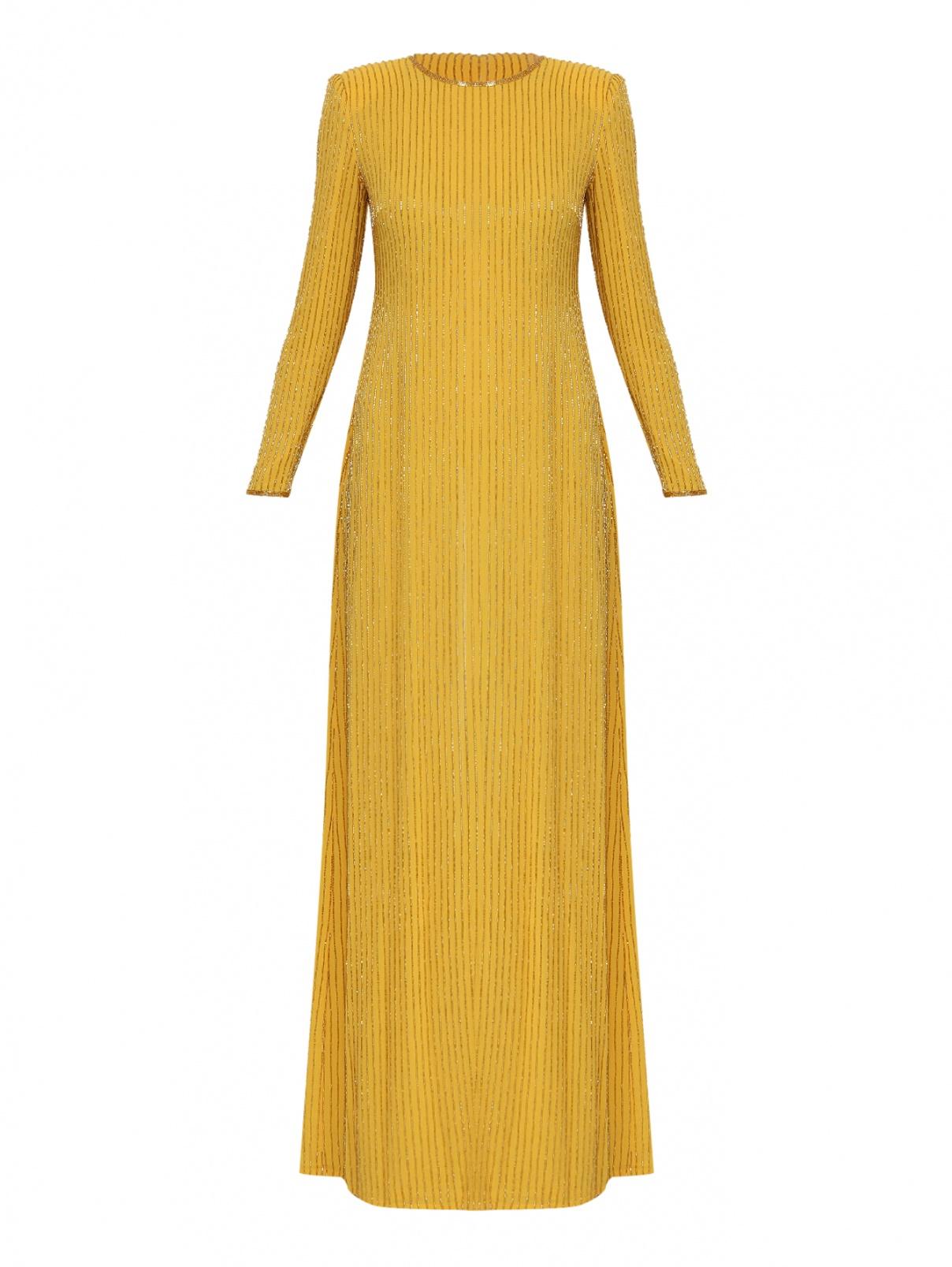 Платье-макси прямого кроя с вышивкой бисером Elisabetta Franchi  –  Общий вид