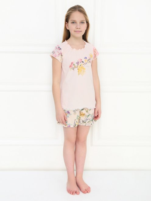 Пижама трикотажная с цветочным узором La Perla - МодельОбщийВид1