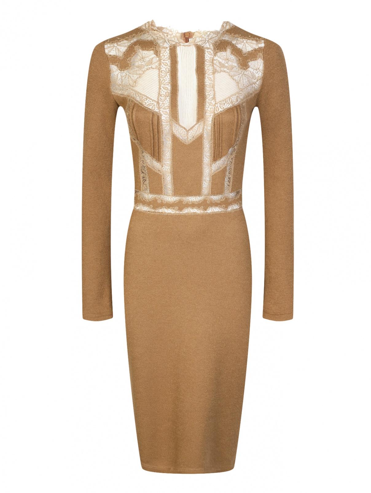 Платье-футляр из шерсти и шелка с кружевной отделкой Ermanno Scervino  –  Общий вид