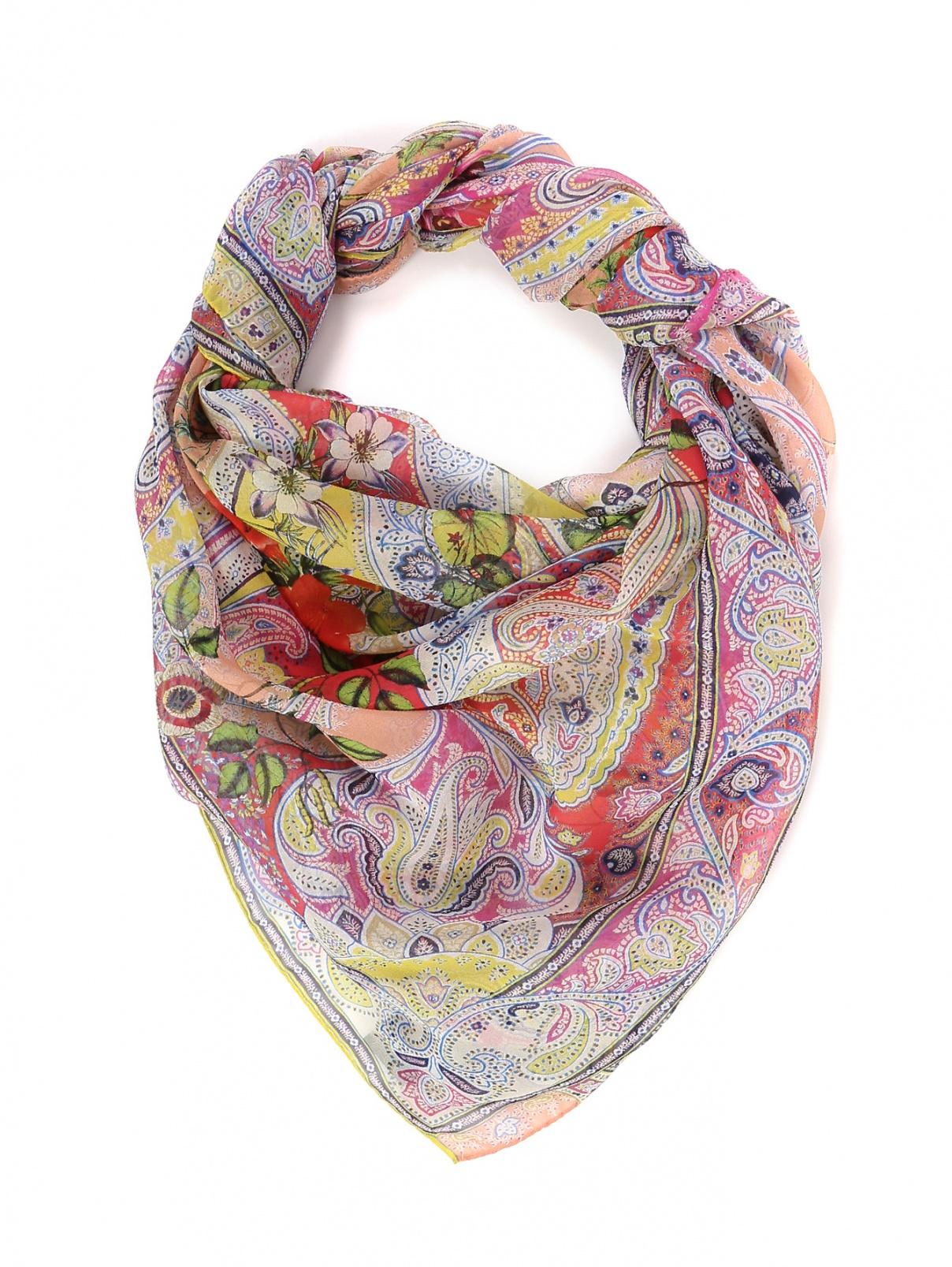 Платок шелковый с цветочным узором Etro  –  Общий вид