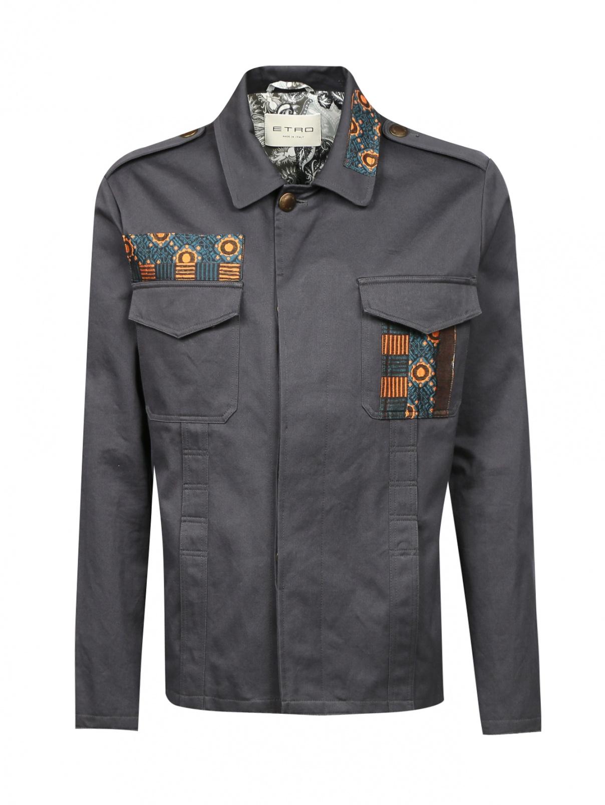Куртка из хлопка на пуговицах с аппликацией Etro  –  Общий вид