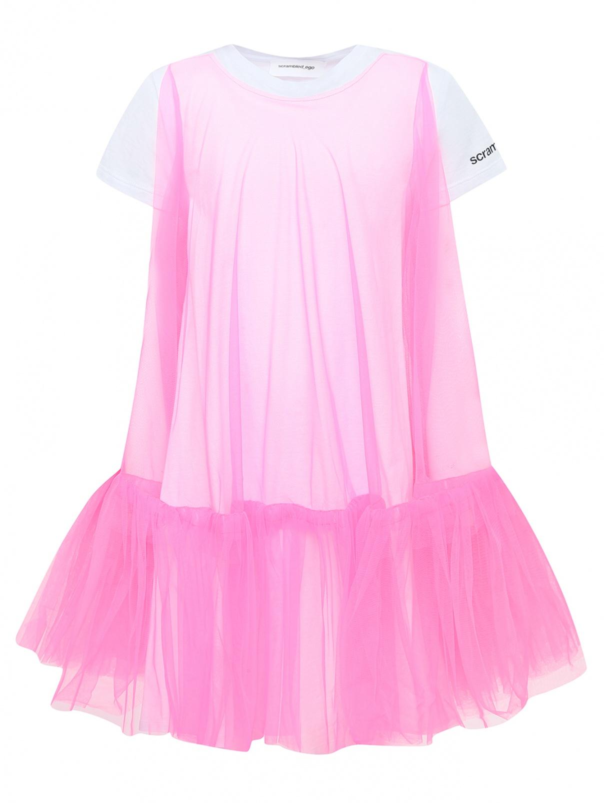 Трикотажное платье-трапеция с сеткой SCRAMBLED_EGO  –  Общий вид