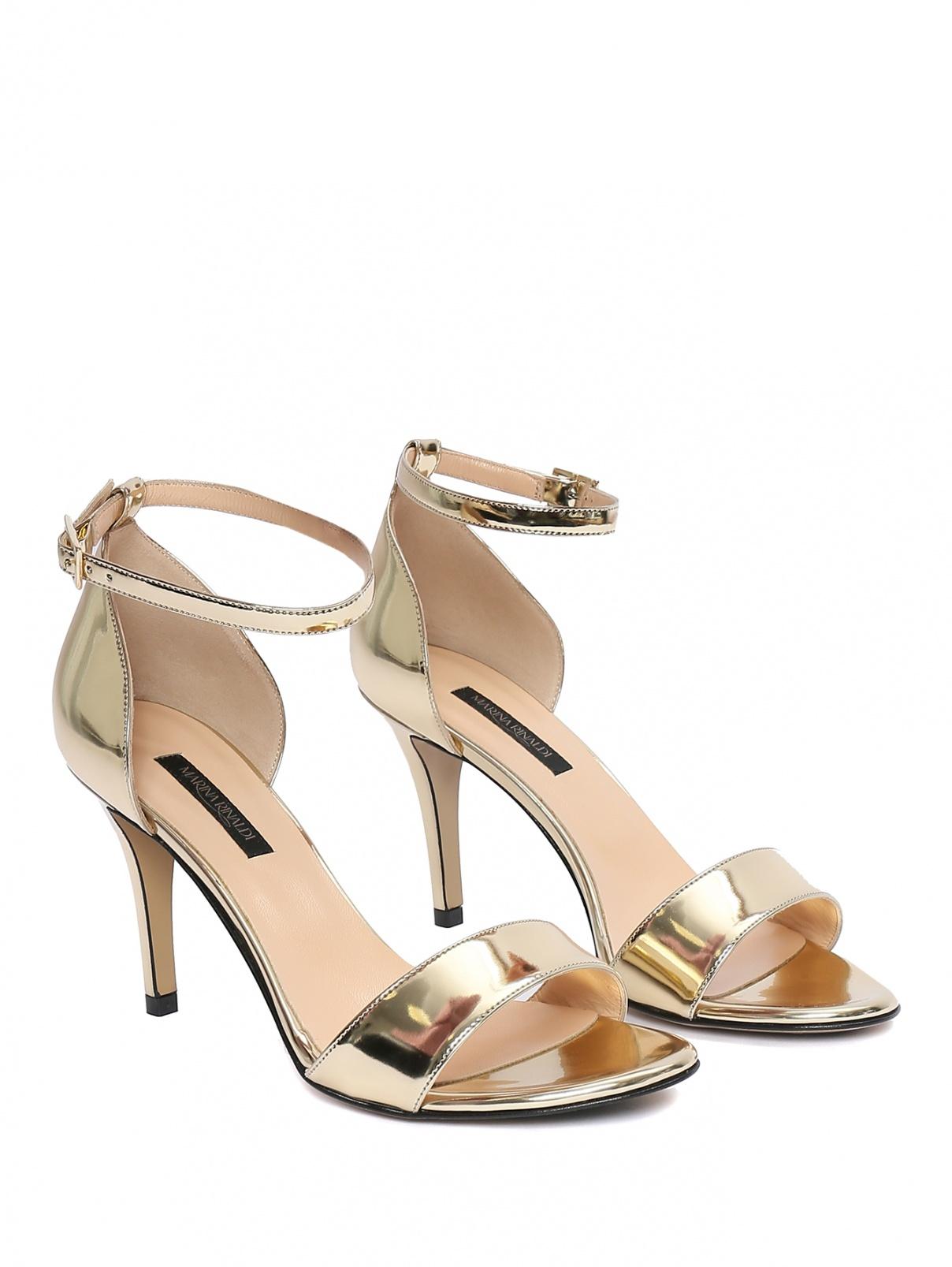 Босоножки цвета металлик на высоком каблуке Marina Rinaldi  –  Общий вид