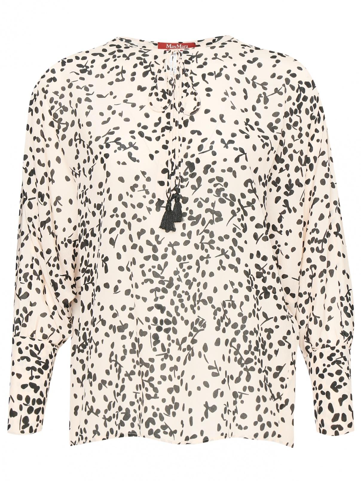 Блуза из шелка свободного кроя с узором Max Mara  –  Общий вид