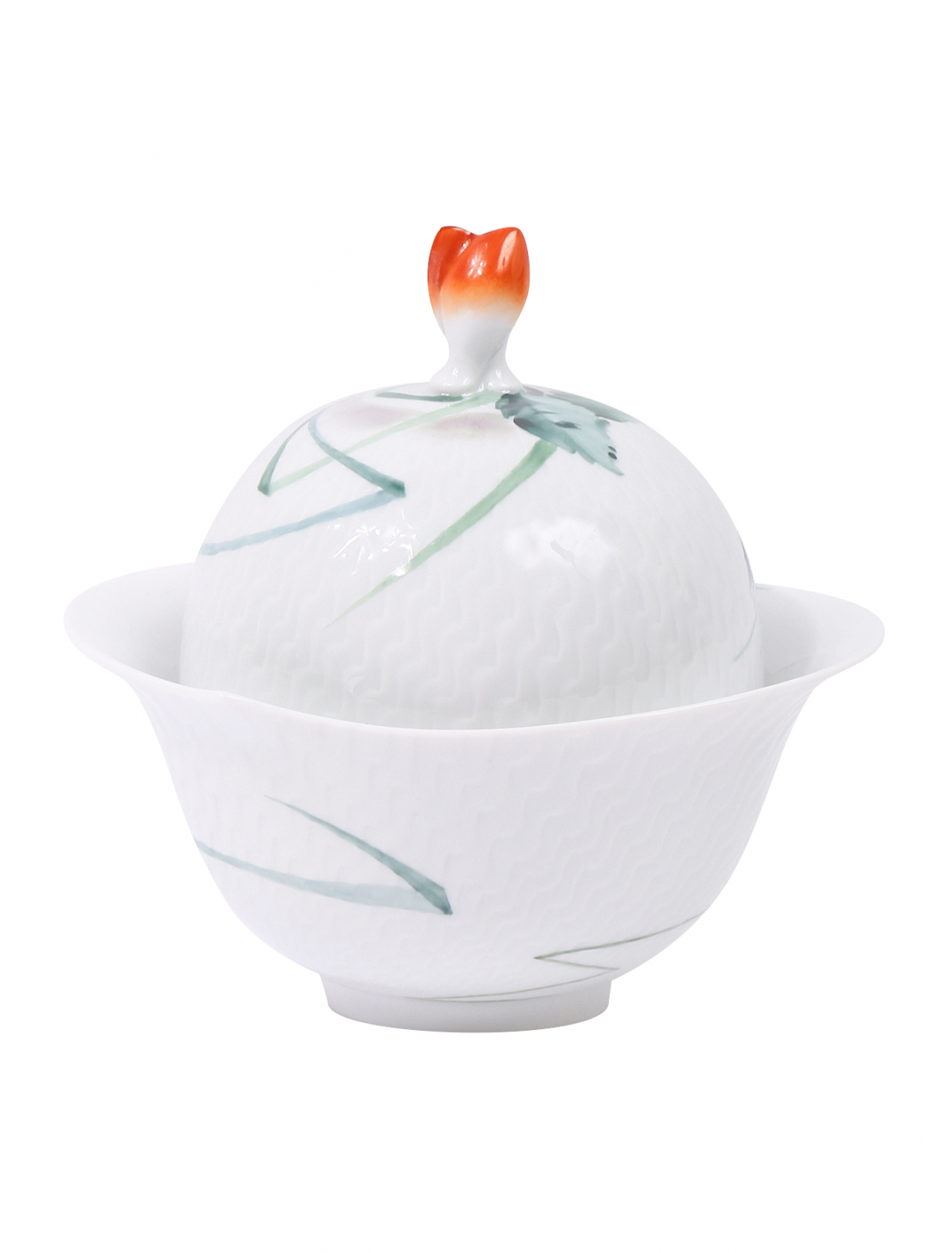 Сахарница из фарфора с растительным узором Meissen  –  Общий вид