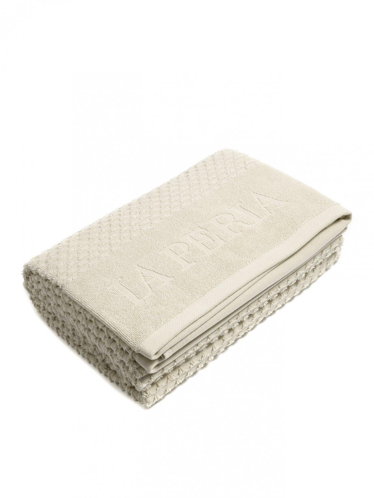Полотенце из хлопковой махровой ткани с фактурным узором и логотипом La Perla  –  Общий вид