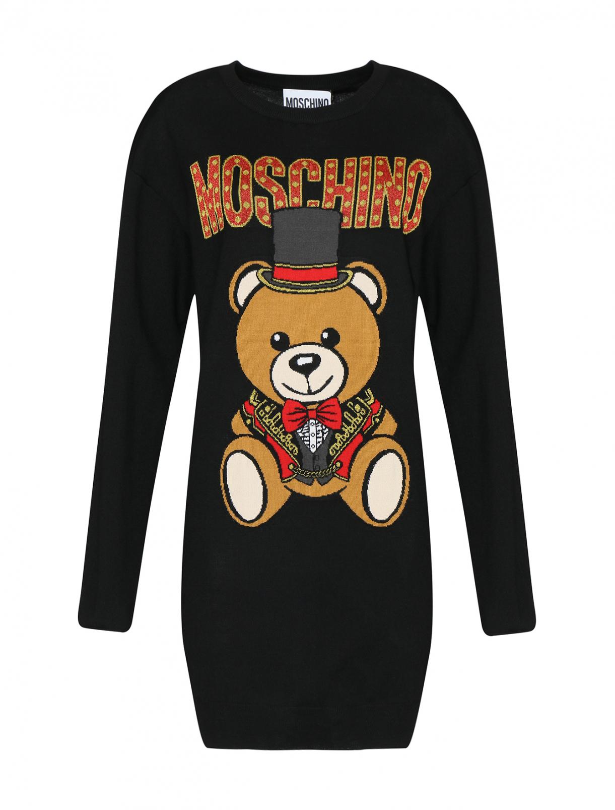Трикотажное платье из шерсти с узором Moschino  –  Общий вид