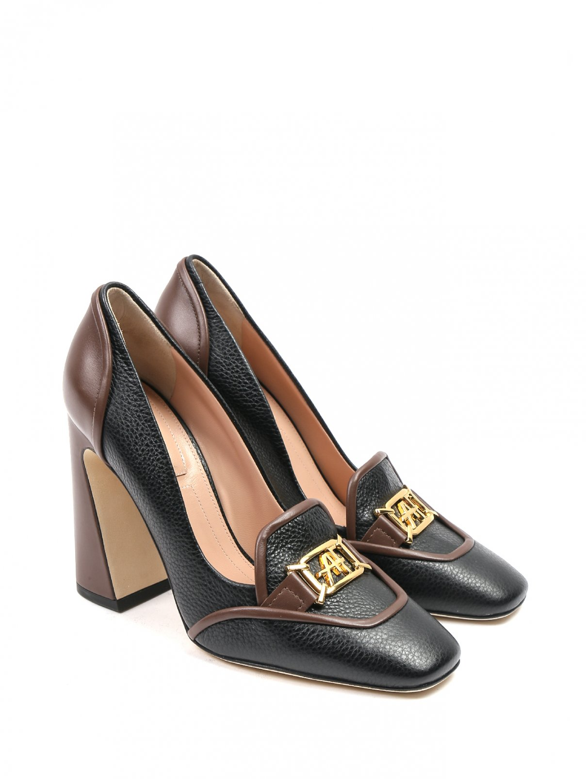 Туфли кожаные с золотой фурнитурой Alberta Ferretti  –  Общий вид