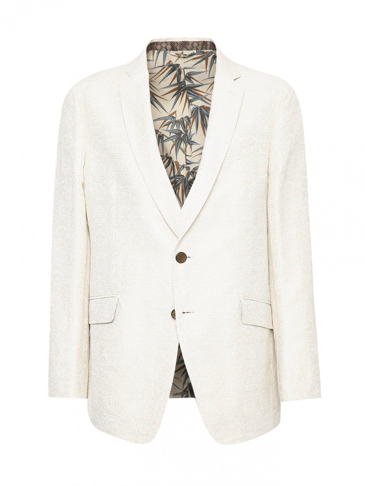 Пиджак однобортный из хлопка и льна Etro  –  Общий вид