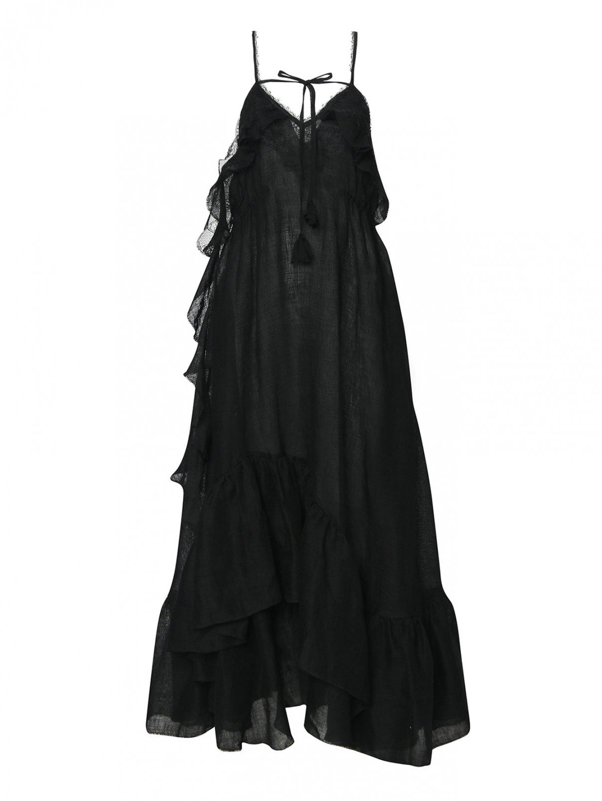 Платье-макси, льняное, с декором кружевом Ermanno Scervino  –  Общий вид