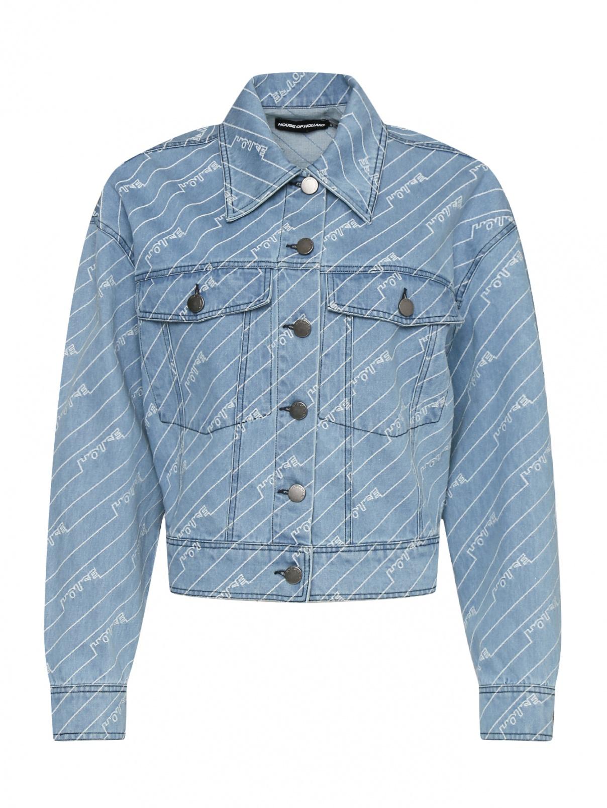 Укороченная куртка из хлопка с узором House of Holland  –  Общий вид