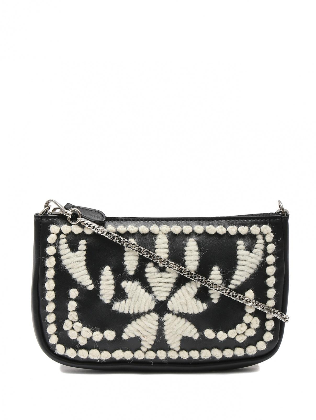 Поясная сумка из кожи декорированная вышивкой Ermanno Scervino  –  Общий вид