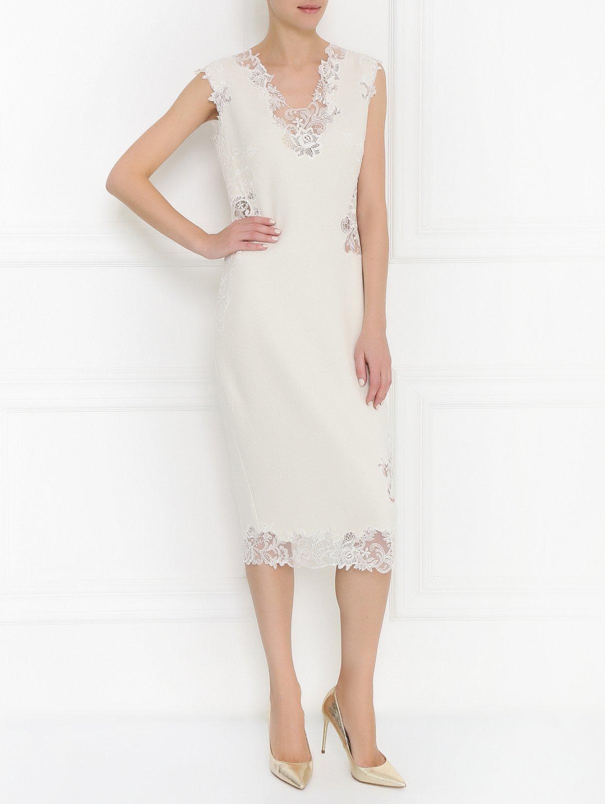Платье из шерсти и шелка с кружевной отделкой Ermanno Scervino  –  Модель Общий вид