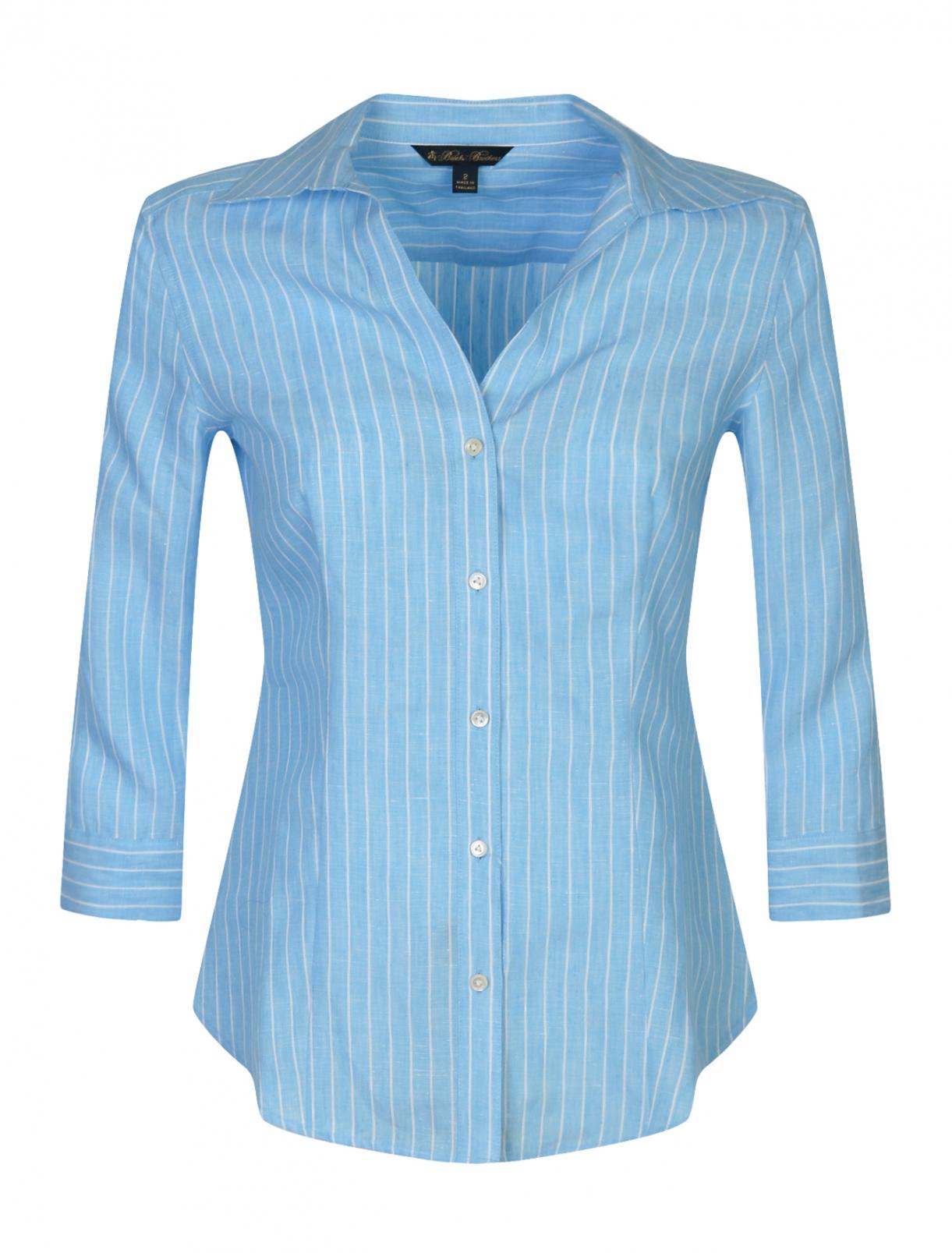 Блуза из льна в полоску Brooks Brothers  –  Общий вид