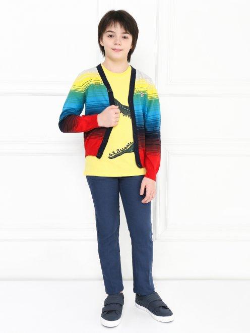 Кардиган хлопковый в цветную полоску Paul Smith Junior - Общий вид